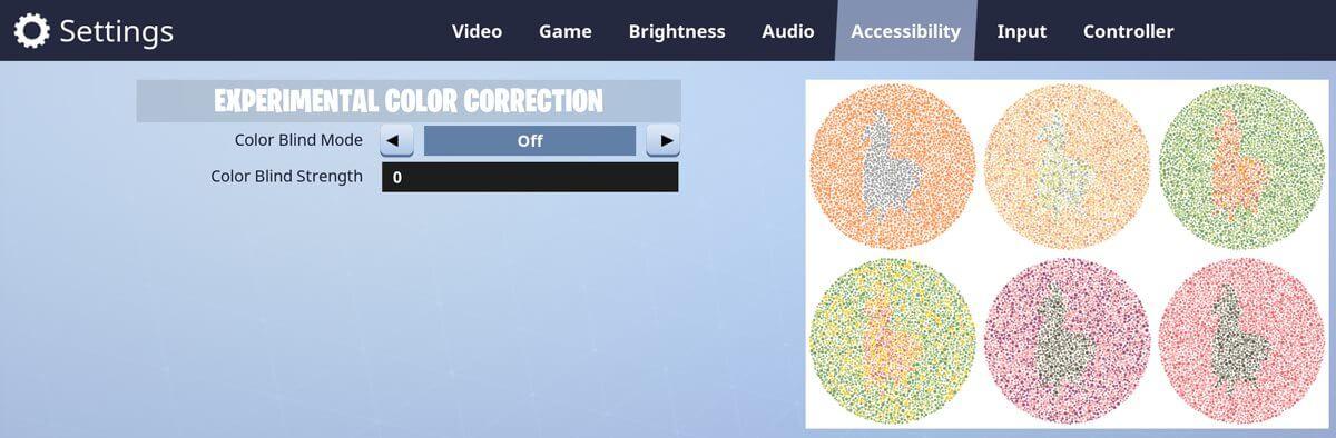 Fortnite Optionen für Farbenblinde