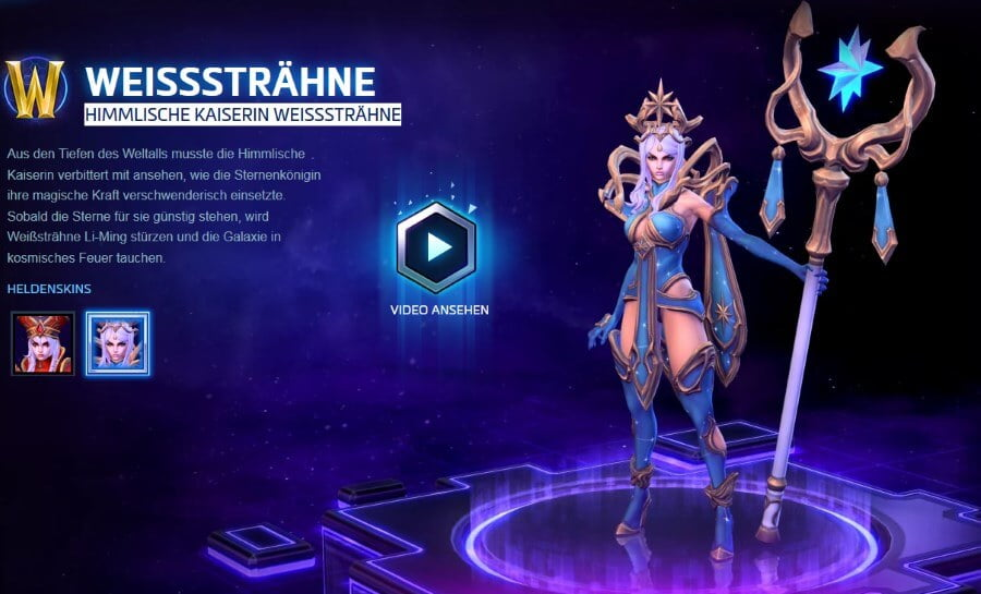 Heroes of the Storm - Bild der Skin Himmlische Kaiserin Weißsträhne