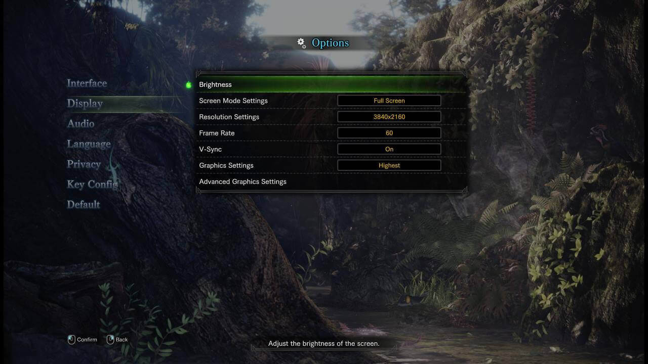 Bild des Monster Hunter: World Graphik Menüs