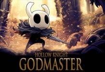 Hollow Knight Godmaster Titelbild mit dem Hollow Knight in heroischer Pose