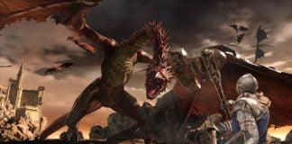 Dark Souls Trilogy - Bild des Helden im Kampf gegen einen Drachen