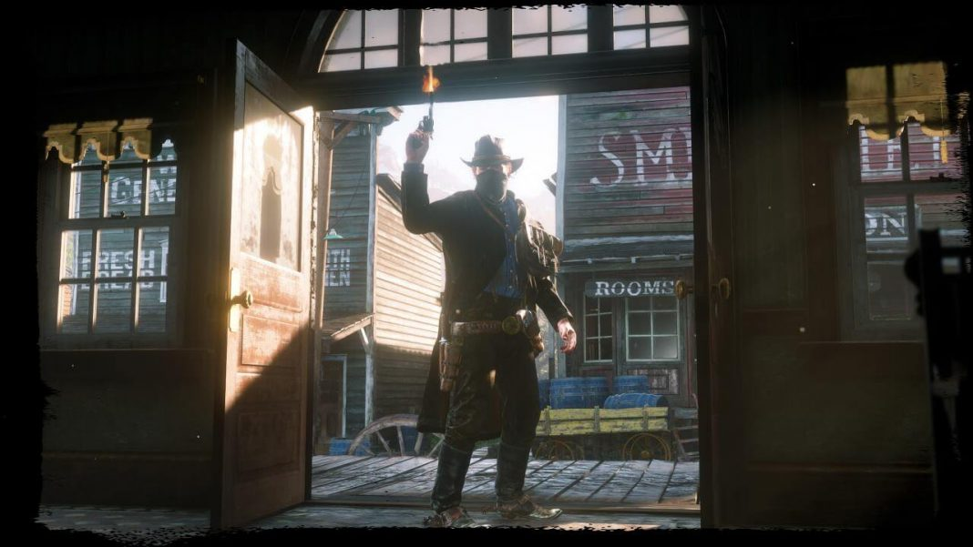 Red Dead Redemption 2 Bandit in einer Saloon Tür Mit Revolver in der Hand
